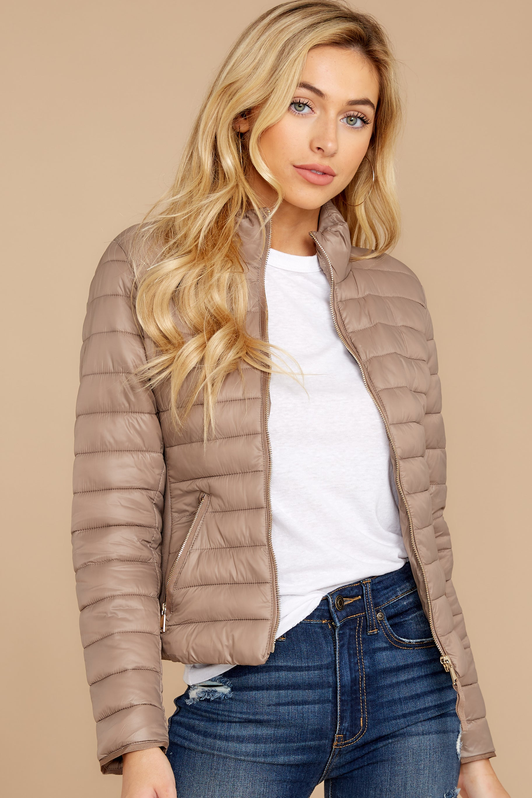 7 Cabin Cozy Taupe Padded Jacket at reddressboutique.com