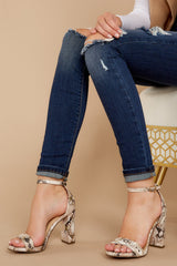 Never Grow Up Beige Snakeskin Ankle Strap Heels
