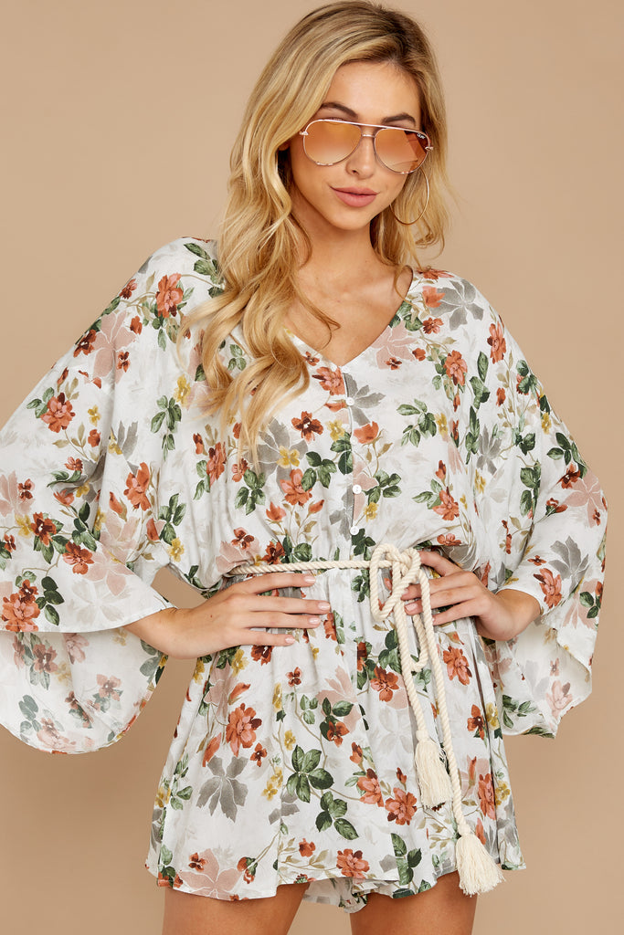 4 All About Love White Floral Print Romper at reddressboutique.com