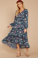 V-neck Bishop Sleeves Floral Print High-Low-Hem Gathered Tiered Fall Polyester Midi Dress