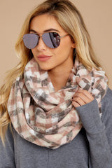 1 In A Flurry Pink Multi Plaid Scarf at reddressboutique.com