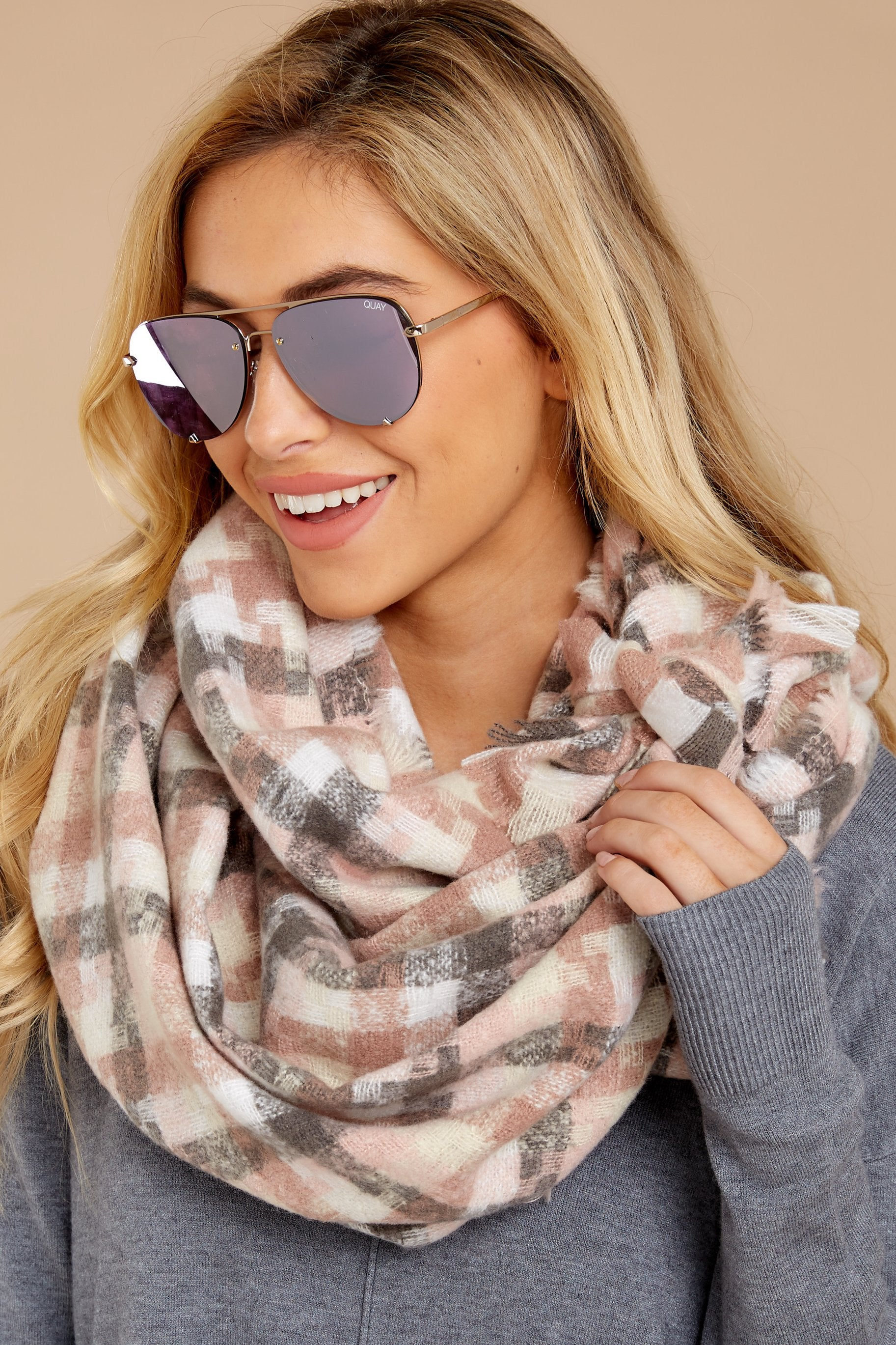 2 In A Flurry Pink Multi Plaid Scarf at reddressboutique.com