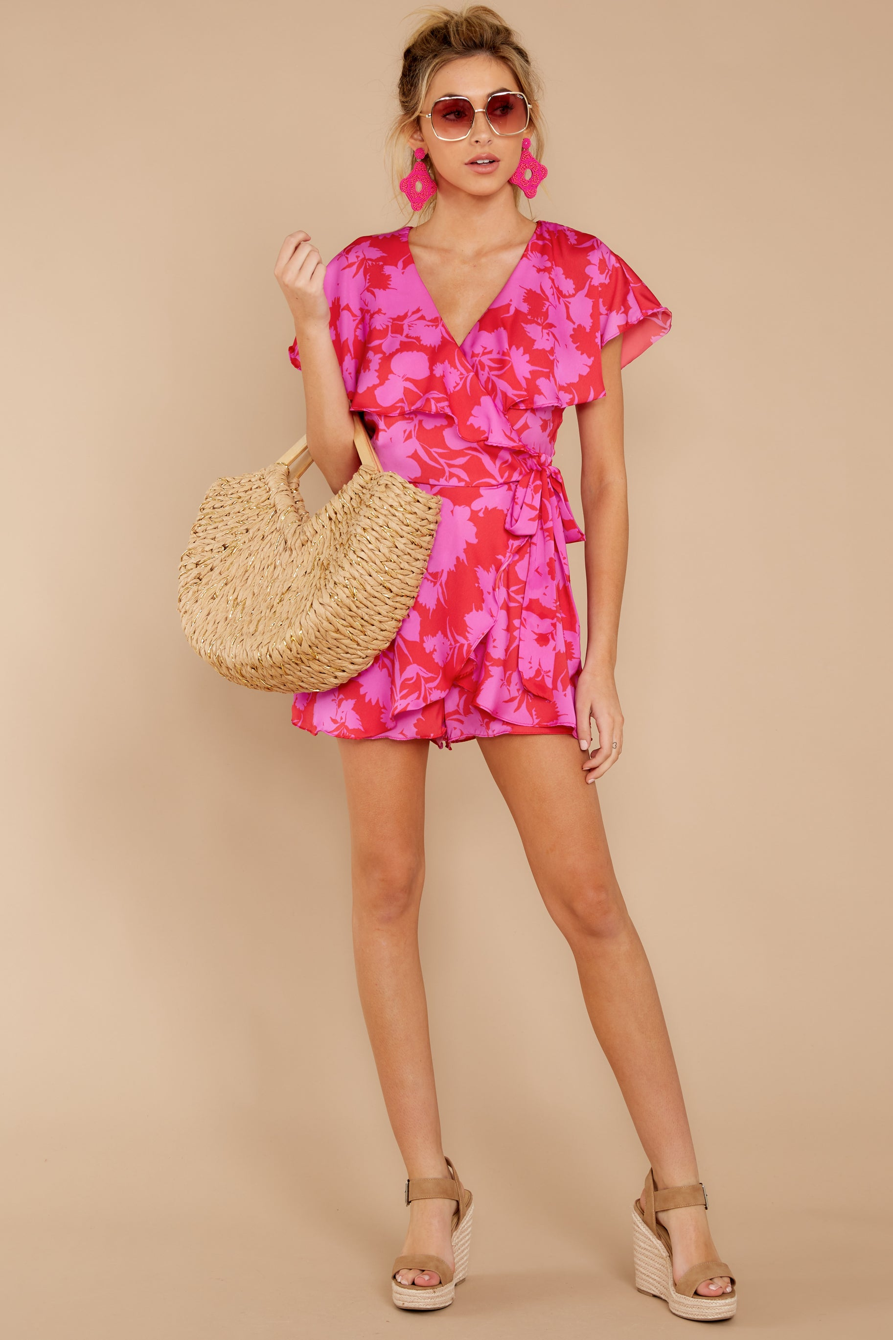 1 At The Moment Berry Multi Romper at reddress.com