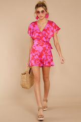 2 At The Moment Berry Multi Romper at reddress.com