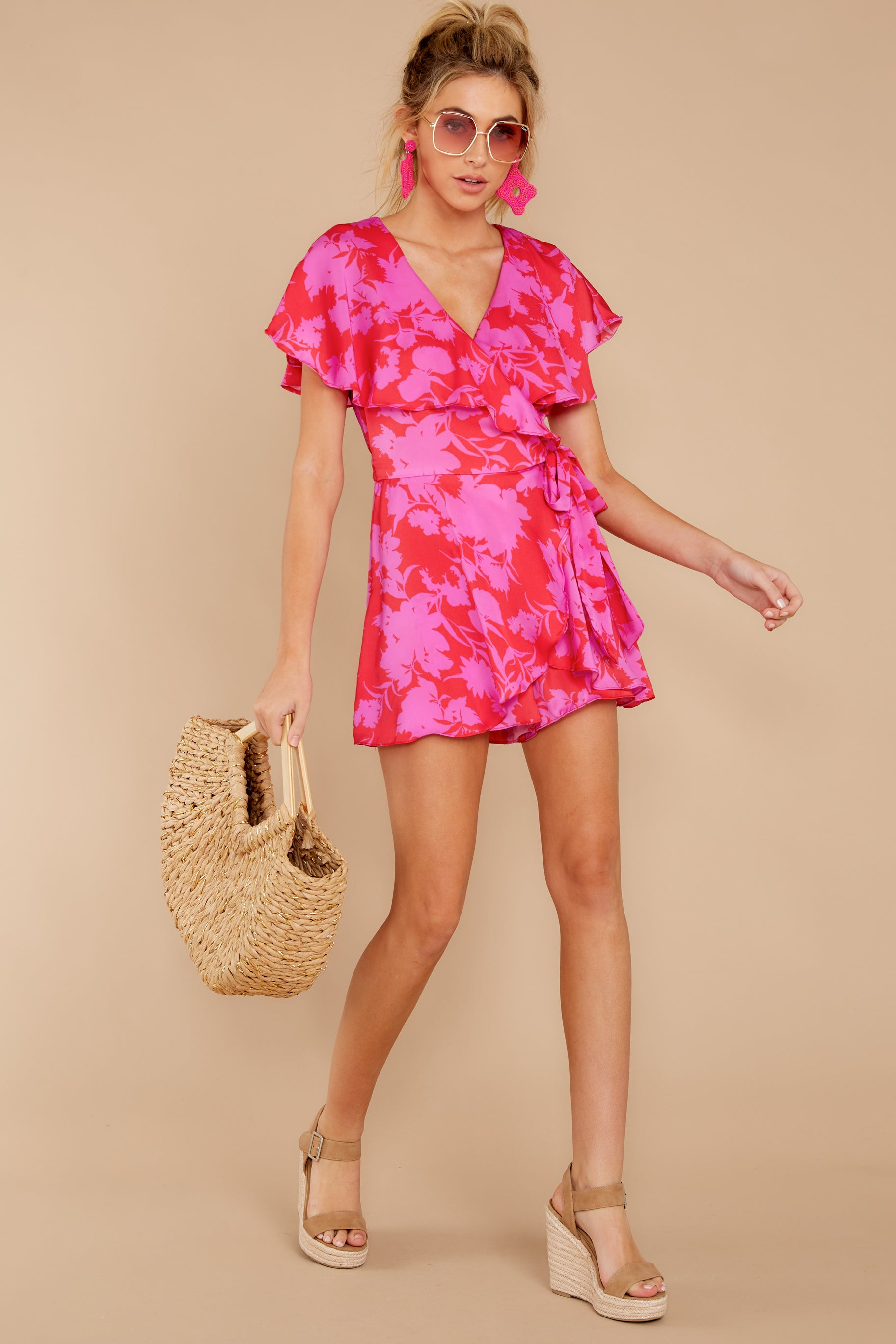 3 At The Moment Berry Multi Romper at reddress.com