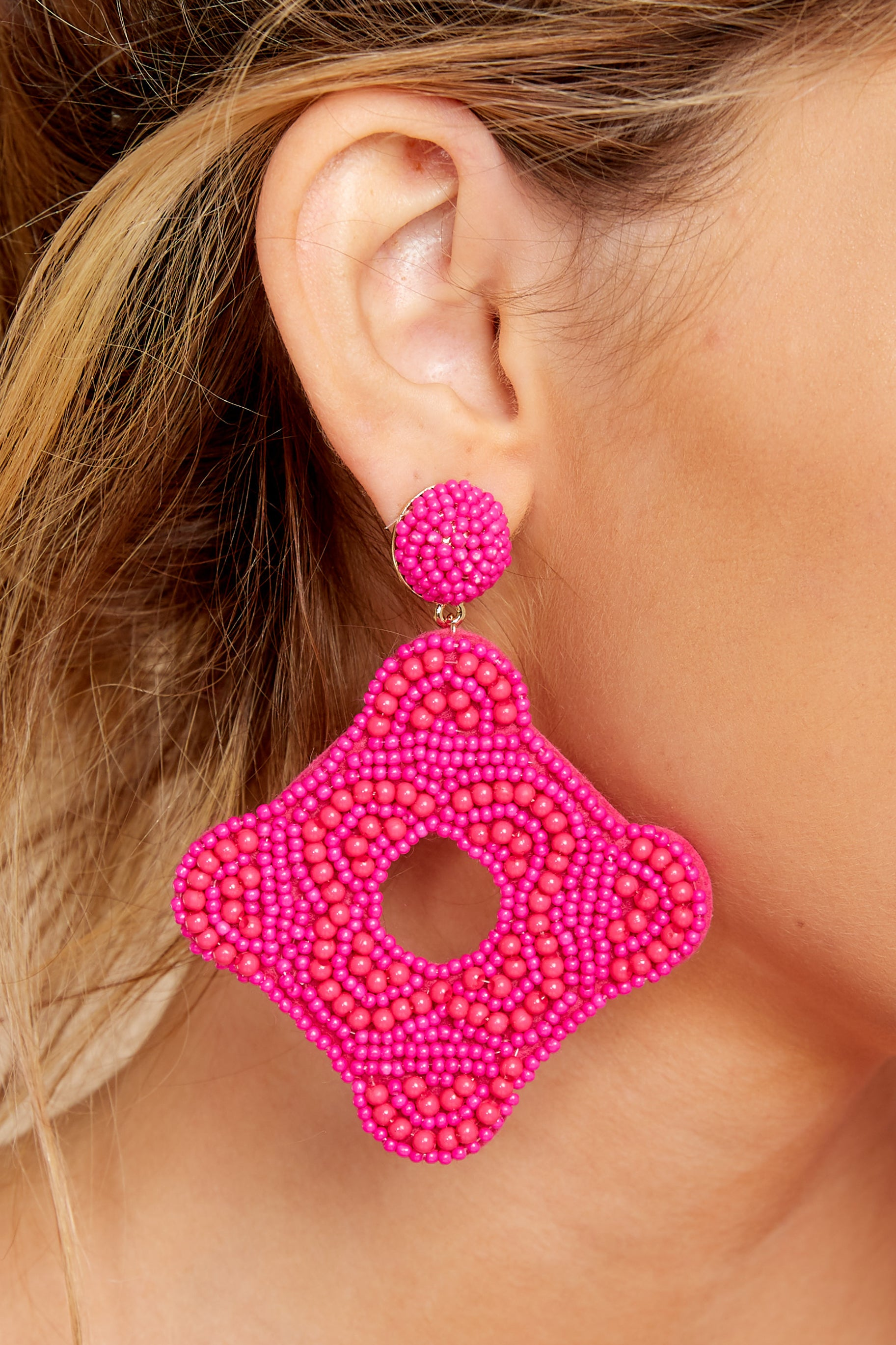 1 Having Fun Bright Pink Beaded Earrings at reddressboutique.com