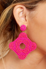1 Having Fun Bright Pink Beaded Earrings at reddress.com