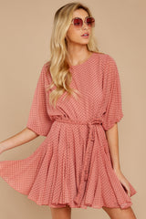 4 Inner Circle Pink Polka Dot Dress at reddressboutique.com