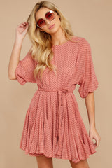 6 Inner Circle Pink Polka Dot Dress at reddressboutique.com