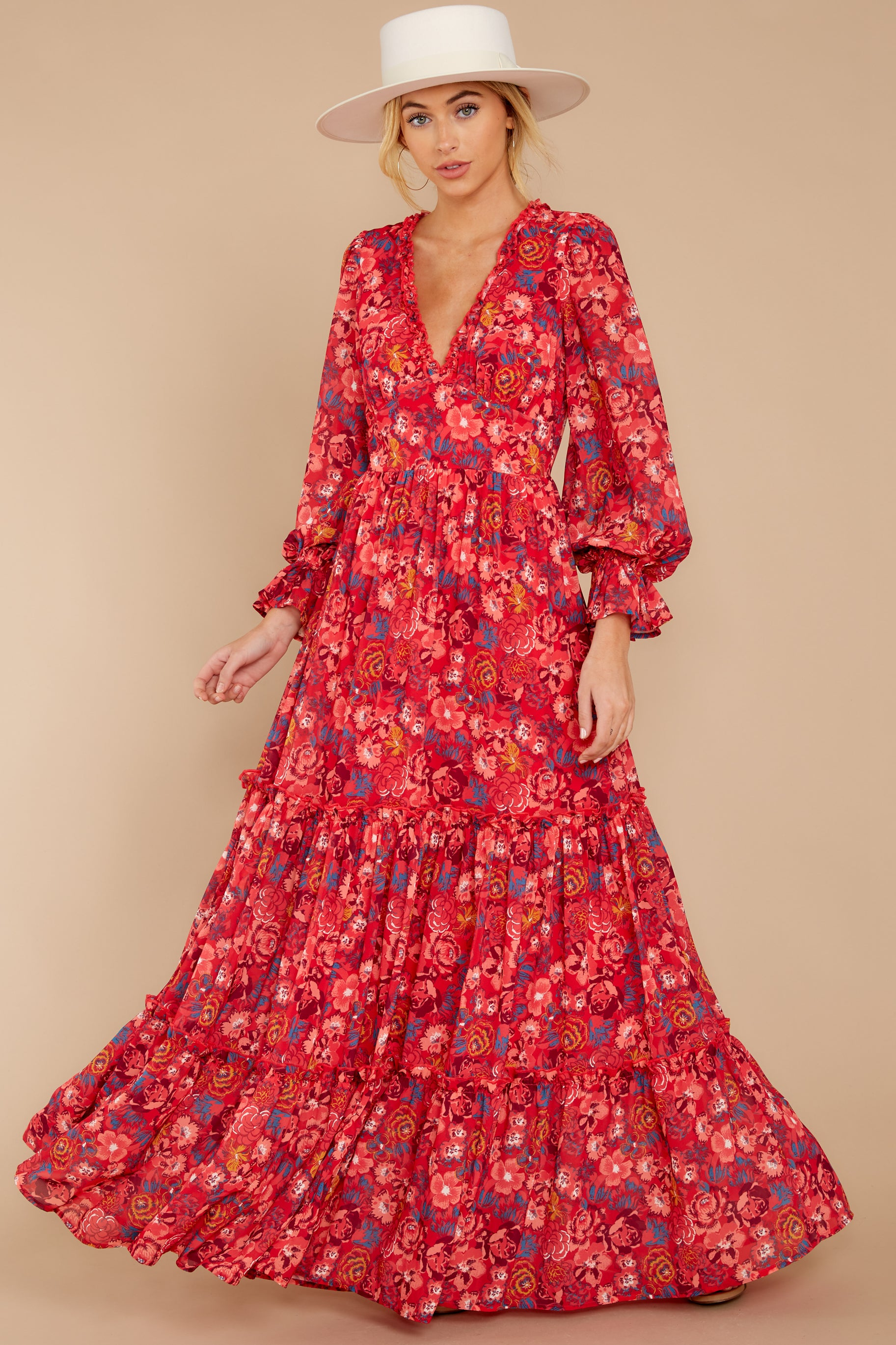 3 Secrets Of The Heart Red Floral Print Maxi Dress at reddressboutique.com