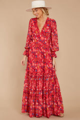 4 Secrets Of The Heart Red Floral Print Maxi Dress at reddressboutique.com