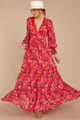 5 Secrets Of The Heart Red Floral Print Maxi Dress at reddressboutique.com