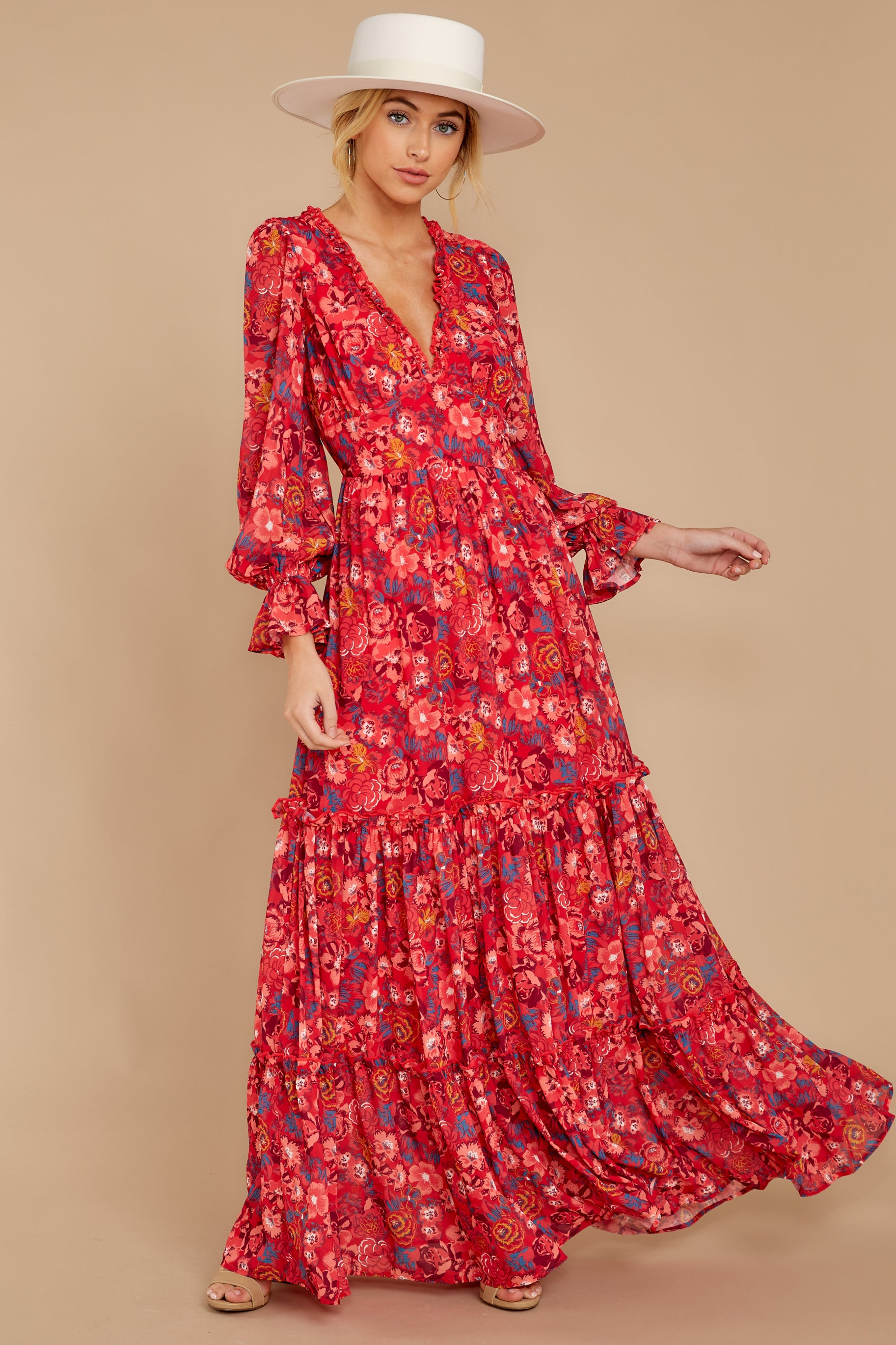 6 Secrets Of The Heart Red Floral Print Maxi Dress at reddressboutique.com