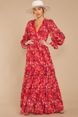 7 Secrets Of The Heart Red Floral Print Maxi Dress at reddressboutique.com