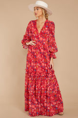 8 Secrets Of The Heart Red Floral Print Maxi Dress at reddressboutique.com