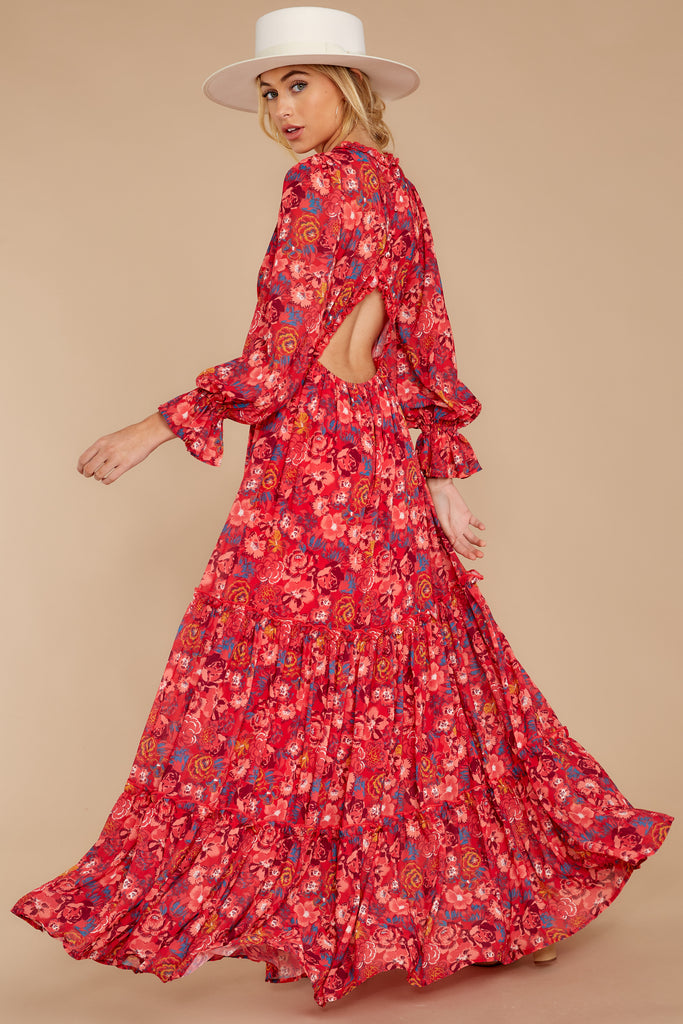 3 Make It Graceful Red Floral Print Dress at reddressboutique.com