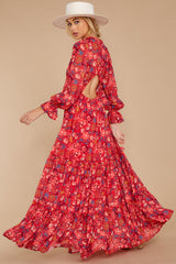 9 Secrets Of The Heart Red Floral Print Maxi Dress at reddressboutique.com