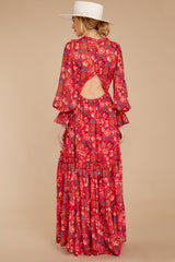 10 Secrets Of The Heart Red Floral Print Maxi Dress at reddressboutique.com
