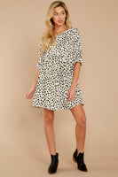 Polyester Button Closure Keyhole Gathered Round Neck 3/4 Sleeves Animal Cheetah Print Dress