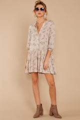 1 Just Comes Naturally Light Tan Print Dress at reddressboutique.com