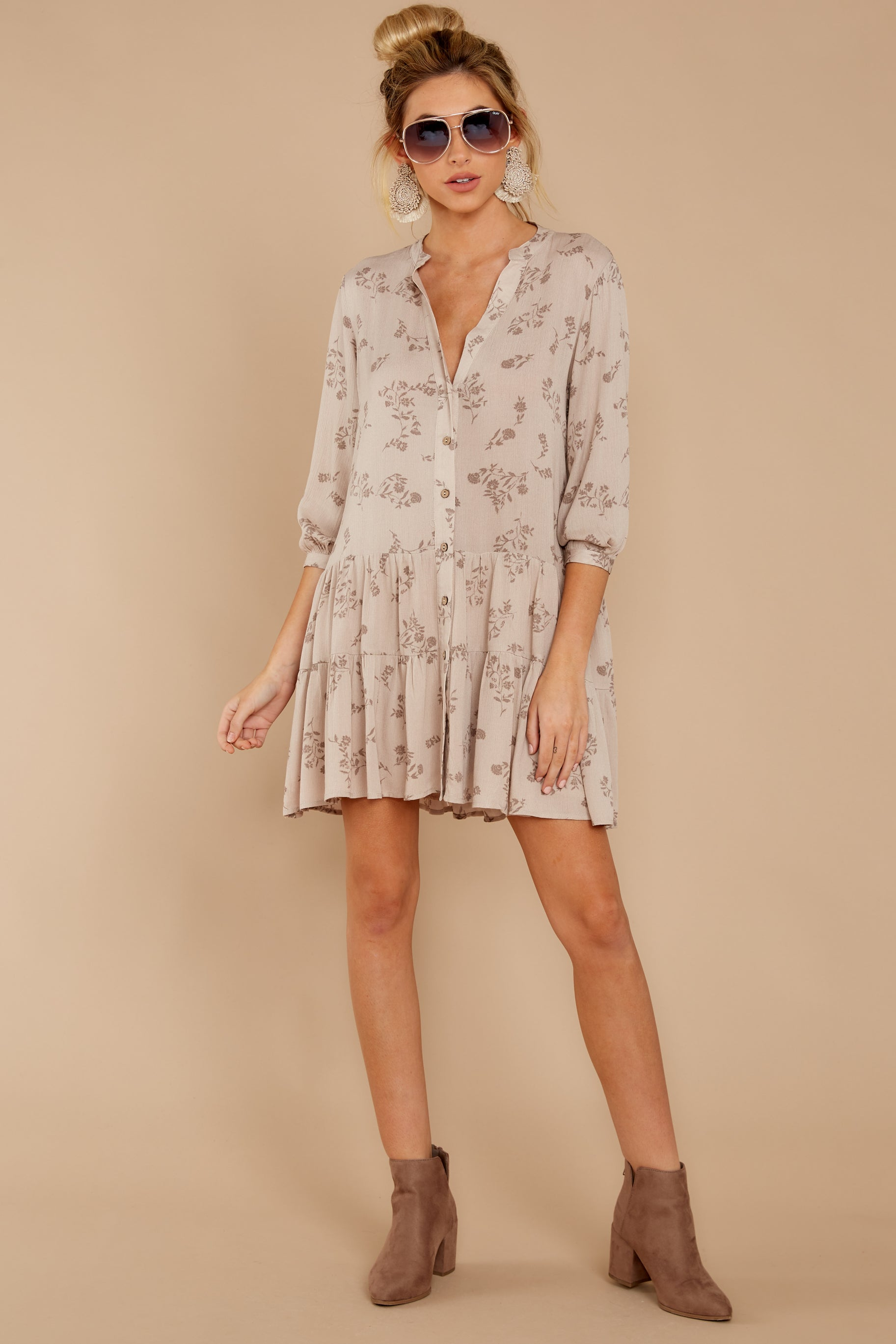 2 Just Comes Naturally Light Tan Print Dress at reddressboutique.com