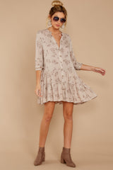 3 Just Comes Naturally Light Tan Print Dress at reddressboutique.com