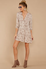 4 Just Comes Naturally Light Tan Print Dress at reddressboutique.com