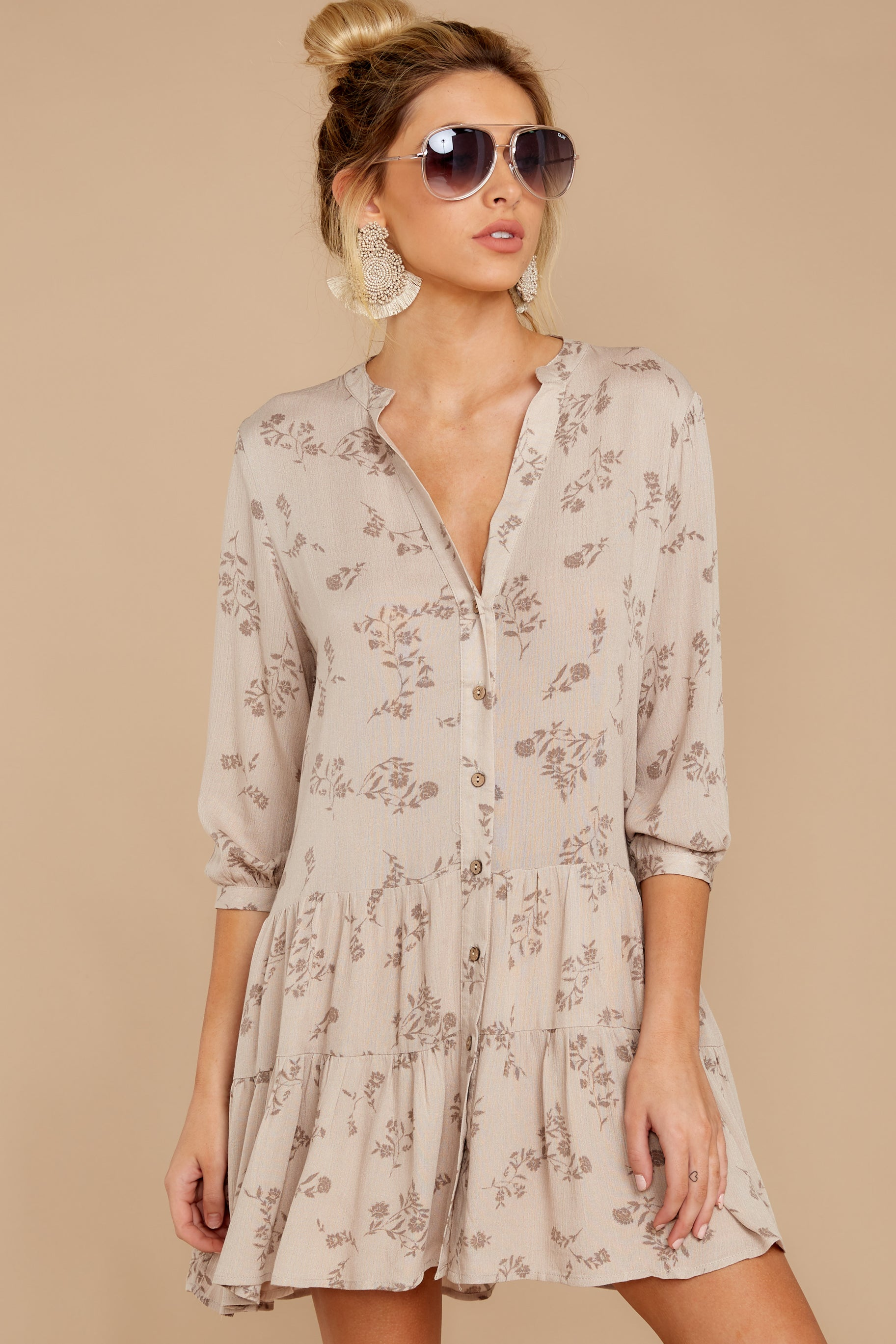 6 Just Comes Naturally Light Tan Print Dress at reddressboutique.com