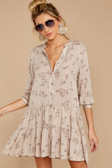 7 Just Comes Naturally Light Tan Print Dress at reddressboutique.com