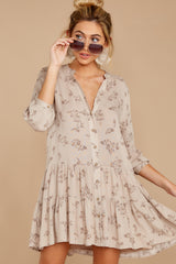 5 Just Comes Naturally Light Tan Print Dress at reddressboutique.com