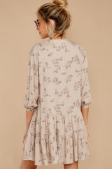 8 Just Comes Naturally Light Tan Print Dress at reddressboutique.com