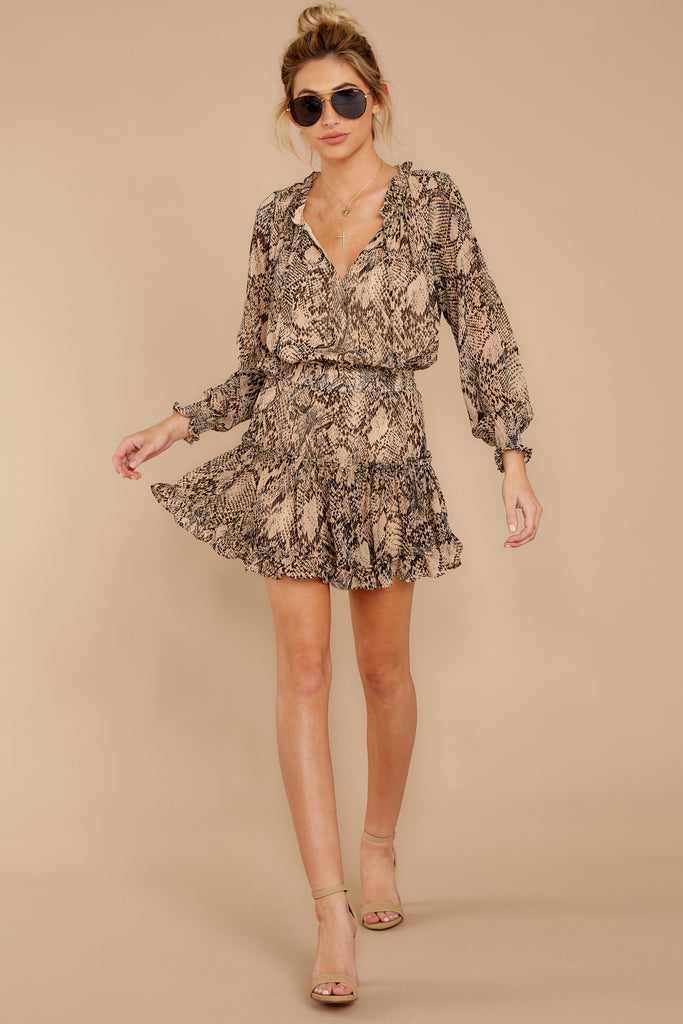 5 You Will Be Noticed Brown Snake Print Dress at reddressboutique.com