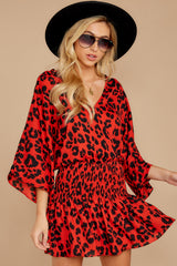 5 Such A Charmer Red Leopard Print Dress at reddressboutique.com