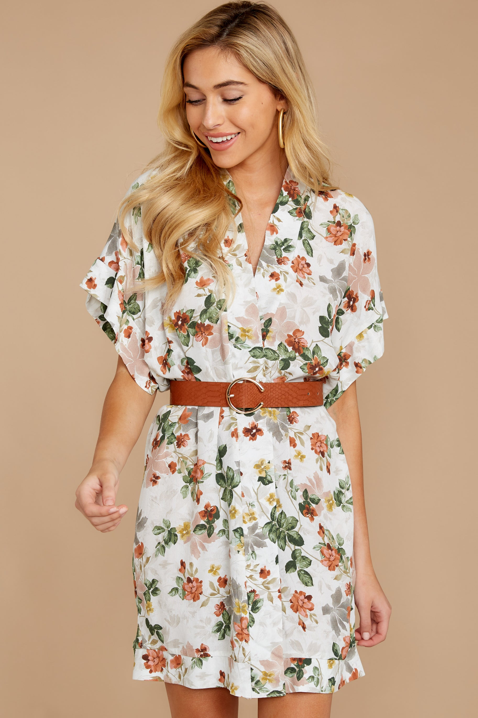 5 I Got You Ivory Floral Print Dress at reddressboutique.com