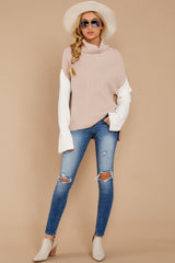 2 Set The Tone Beige And Ivory Cowl Neck Sweater at reddress.com