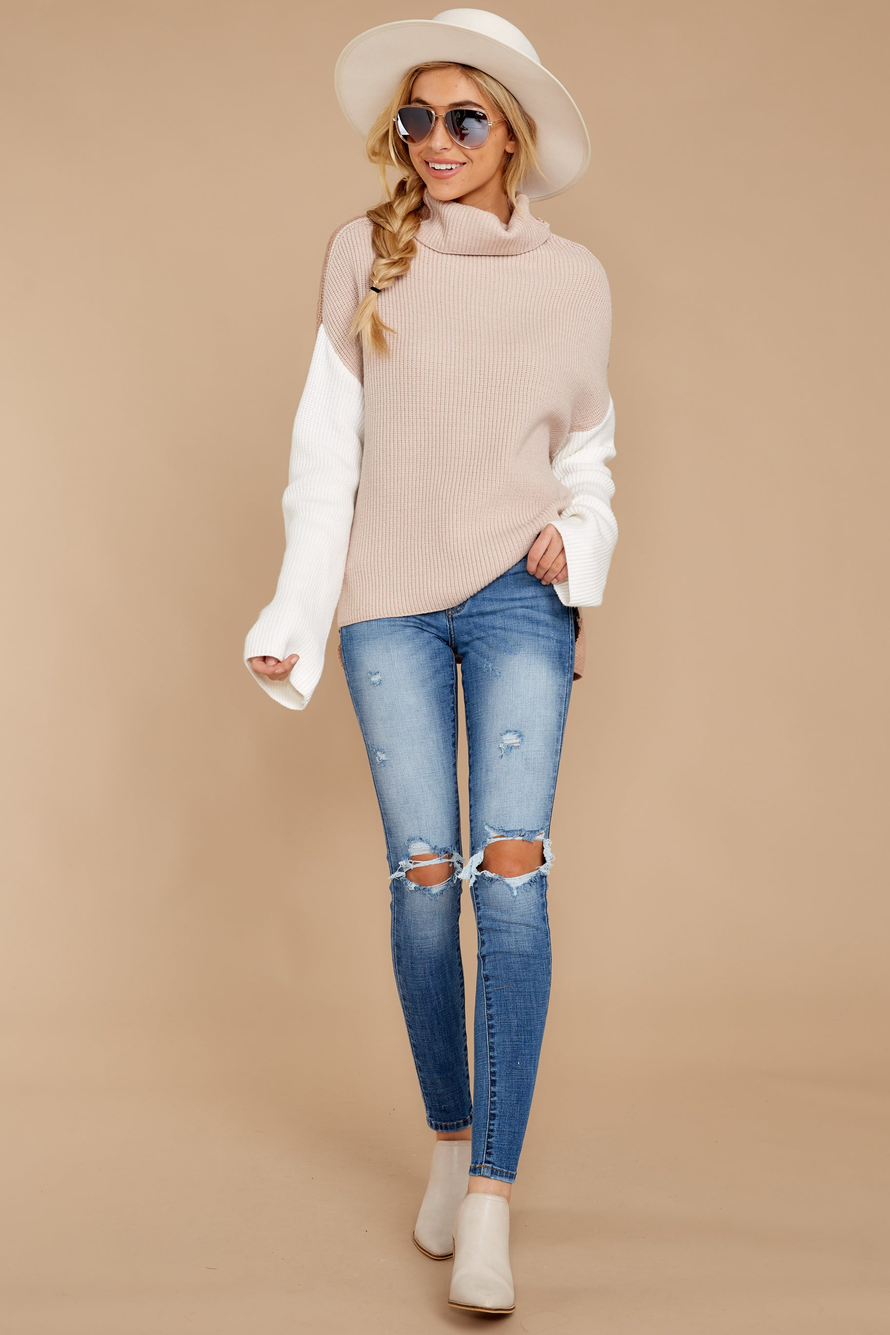 4 Set The Tone Beige And Ivory Cowl Neck Sweater at reddress.com