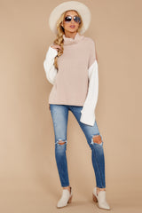 5 Set The Tone Beige And Ivory Cowl Neck Sweater at reddress.com