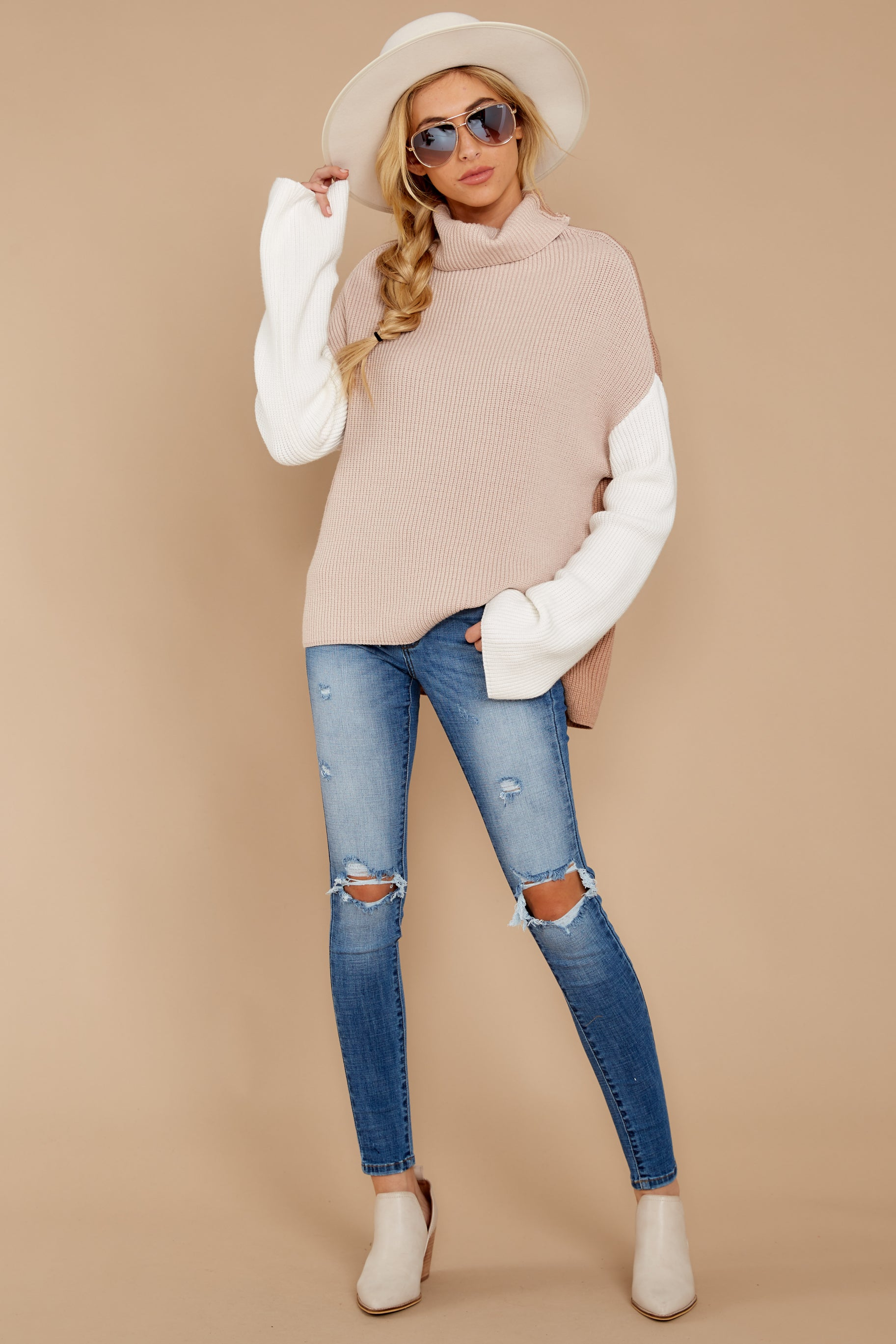 6 Set The Tone Beige And Ivory Cowl Neck Sweater at reddress.com