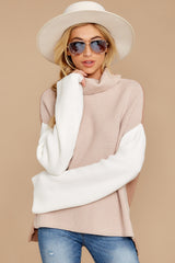 3 Set The Tone Beige And Ivory Cowl Neck Sweater at reddress.com
