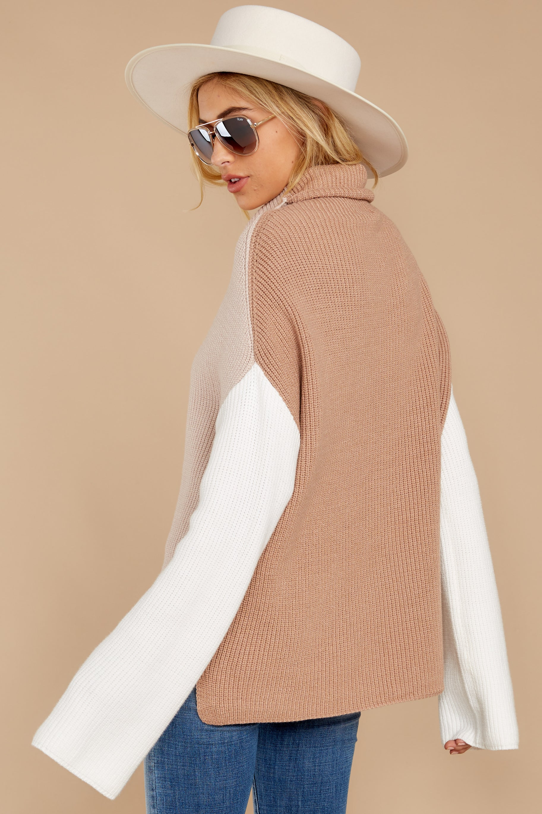 7 Set The Tone Beige And Ivory Cowl Neck Sweater at reddress.com