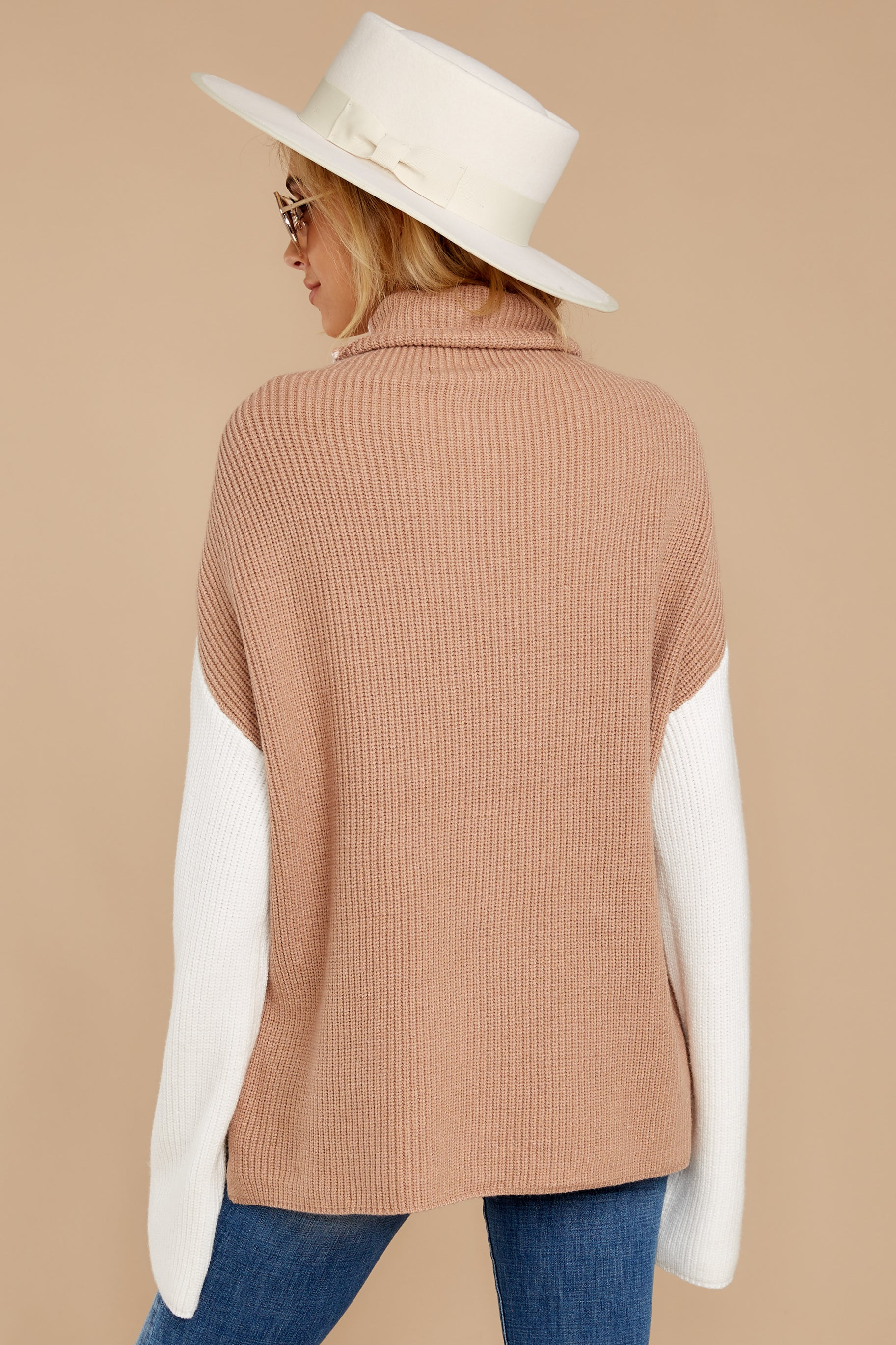 8 Set The Tone Beige And Ivory Cowl Neck Sweater at reddress.com