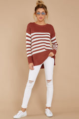 1 Getting Cozy Rust Stripe Sweater at reddressboutique.com
