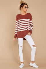 2 Getting Cozy Rust Stripe Sweater at reddressboutique.com