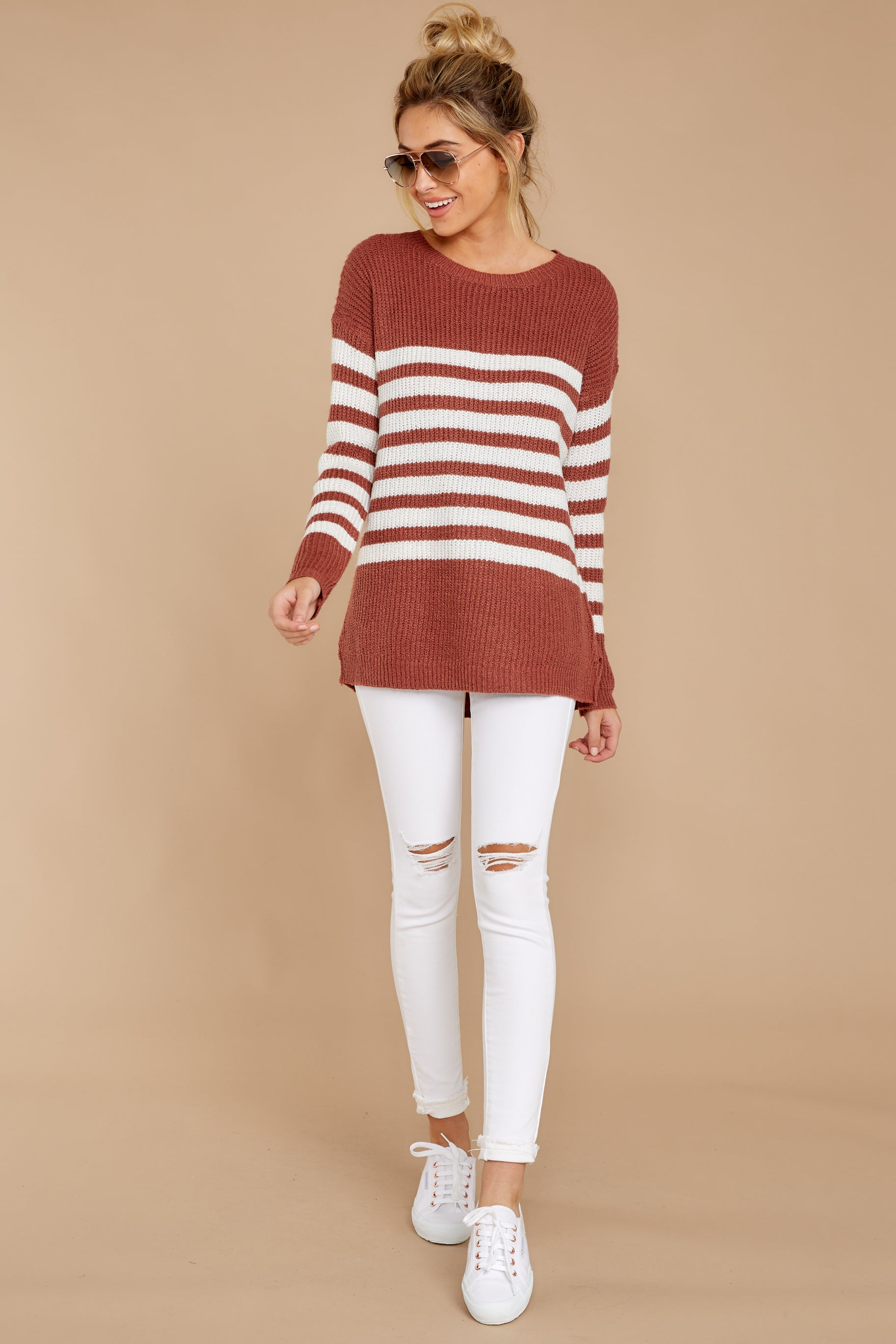 3 Getting Cozy Rust Stripe Sweater at reddressboutique.com
