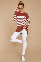 4 Getting Cozy Rust Stripe Sweater at reddressboutique.com