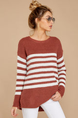 5 Getting Cozy Rust Stripe Sweater at reddressboutique.com