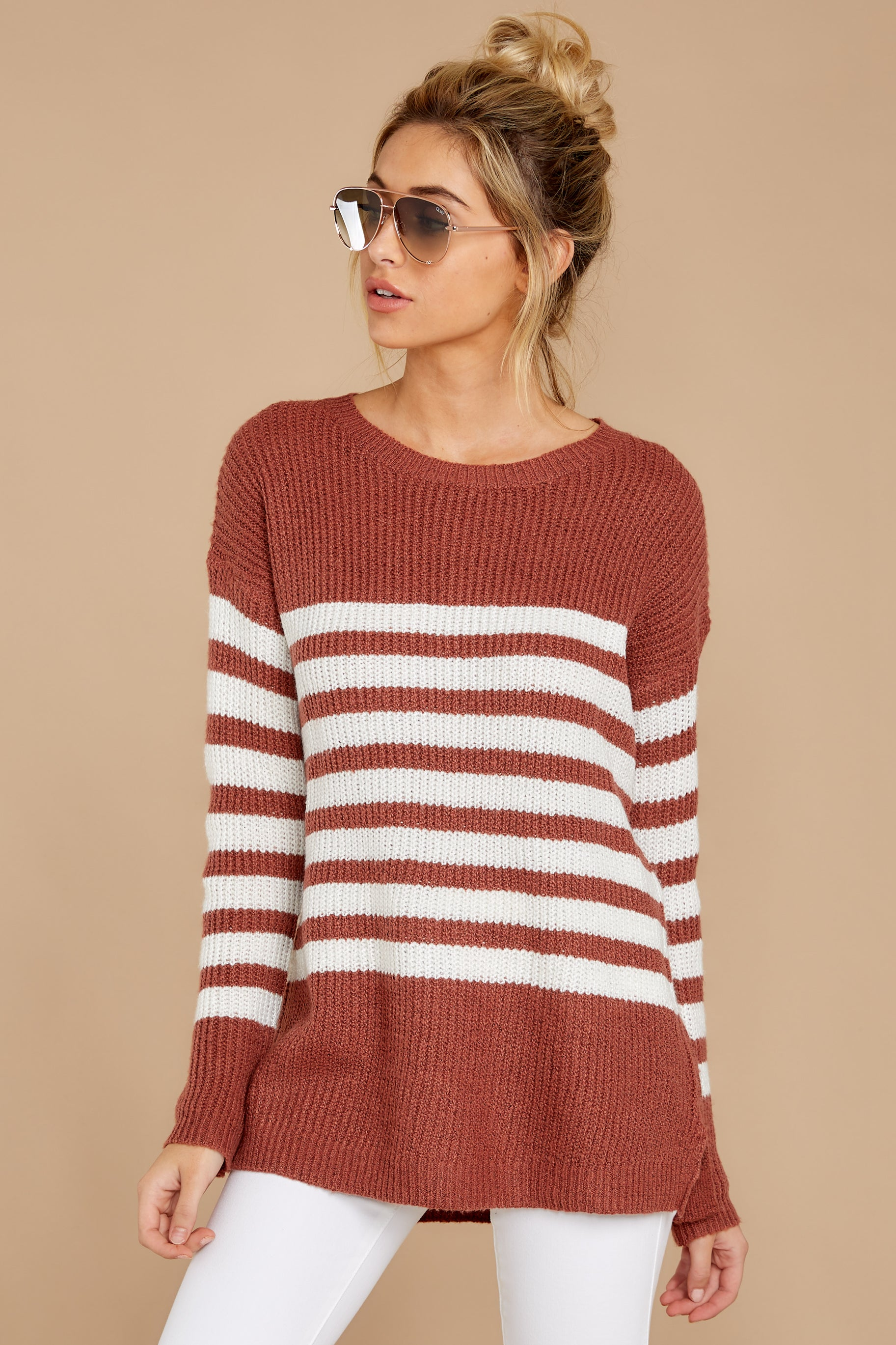 6 Getting Cozy Rust Stripe Sweater at reddressboutique.com