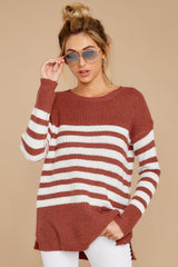 7 Getting Cozy Rust Stripe Sweater at reddressboutique.com
