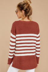 8 Getting Cozy Rust Stripe Sweater at reddressboutique.com