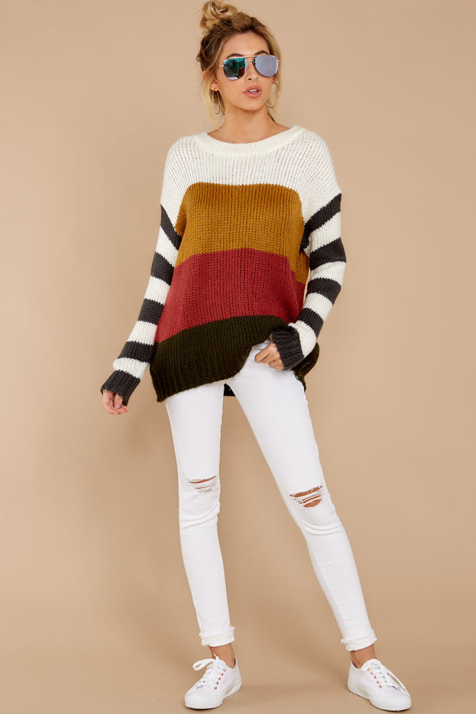1 Everything You Expect Grey Multi Stripe Sweater at reddressboutique.com